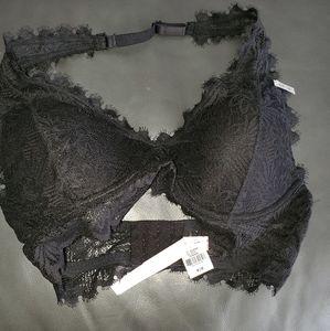 lightly lined black lace bralette